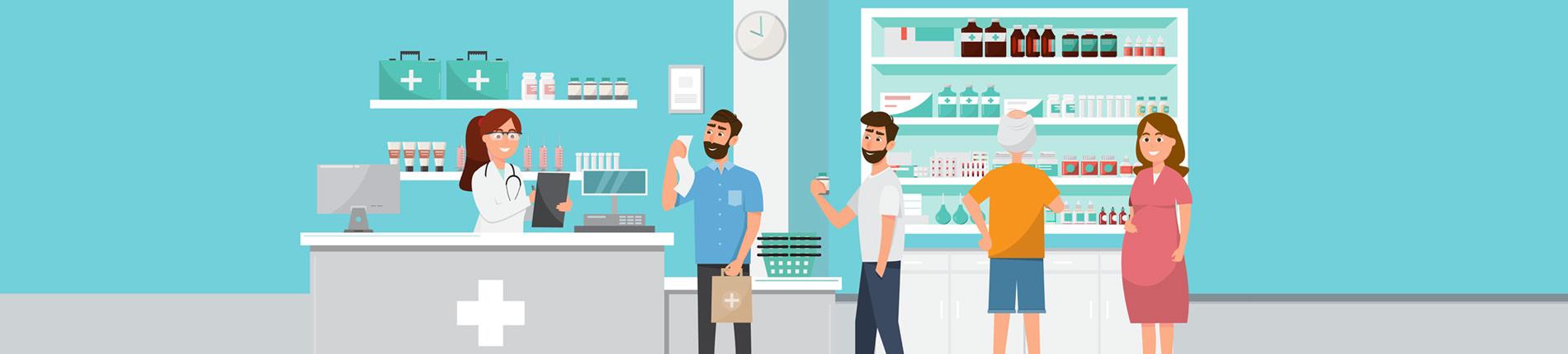 Alltag als PTA - illustriert in einer Apotheke